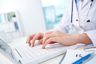 Doctor looking for information in the database