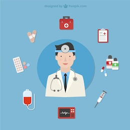 Doctor with medical icons