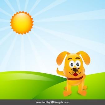 Dog cartoon in countryside