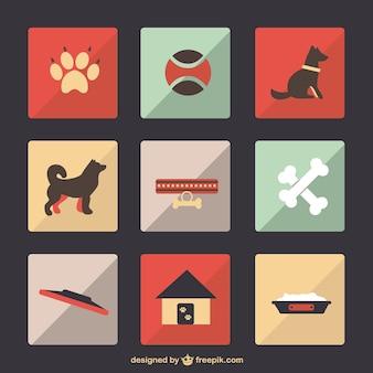 Dog pet flat vector set