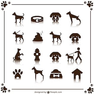 Dog vector icons set