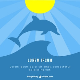 Dolphin sunlight vector illustration