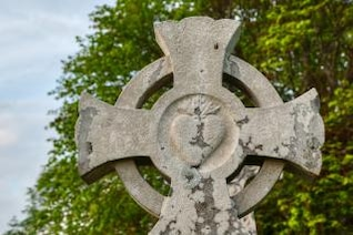 donegal cemetery celtic cross   hdr  weathered