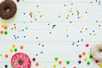 Donuts and drops with confetti
