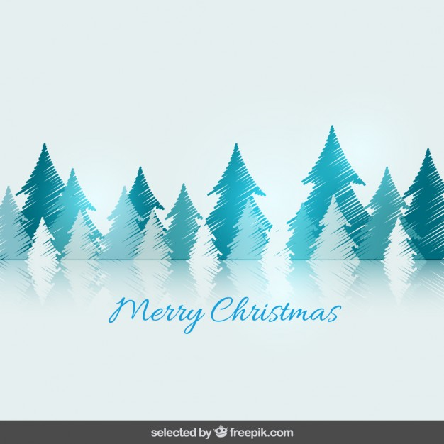 Doodle Christmas trees card