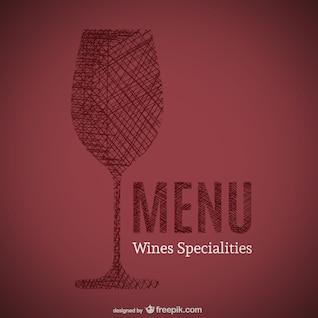 Doodle of wines specialities menu art