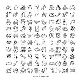 Doodle toys icons set