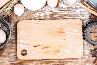 Dough preparation recipe bread, pizza or pie making ingridients, food flat lay on kitchen table background.