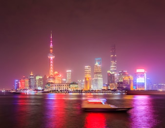 Downtown landscape shanghai china water