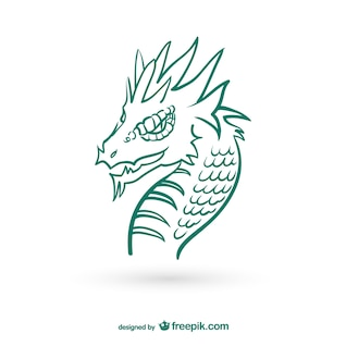Dragon drawing vector