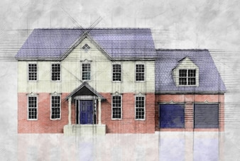 Drawing of a house by an architect