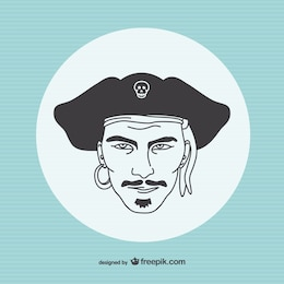 Drawing of a pirate portrait
