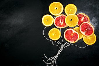Drawing of balloons with orange slices