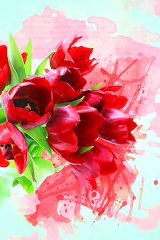 赤い花を描きます