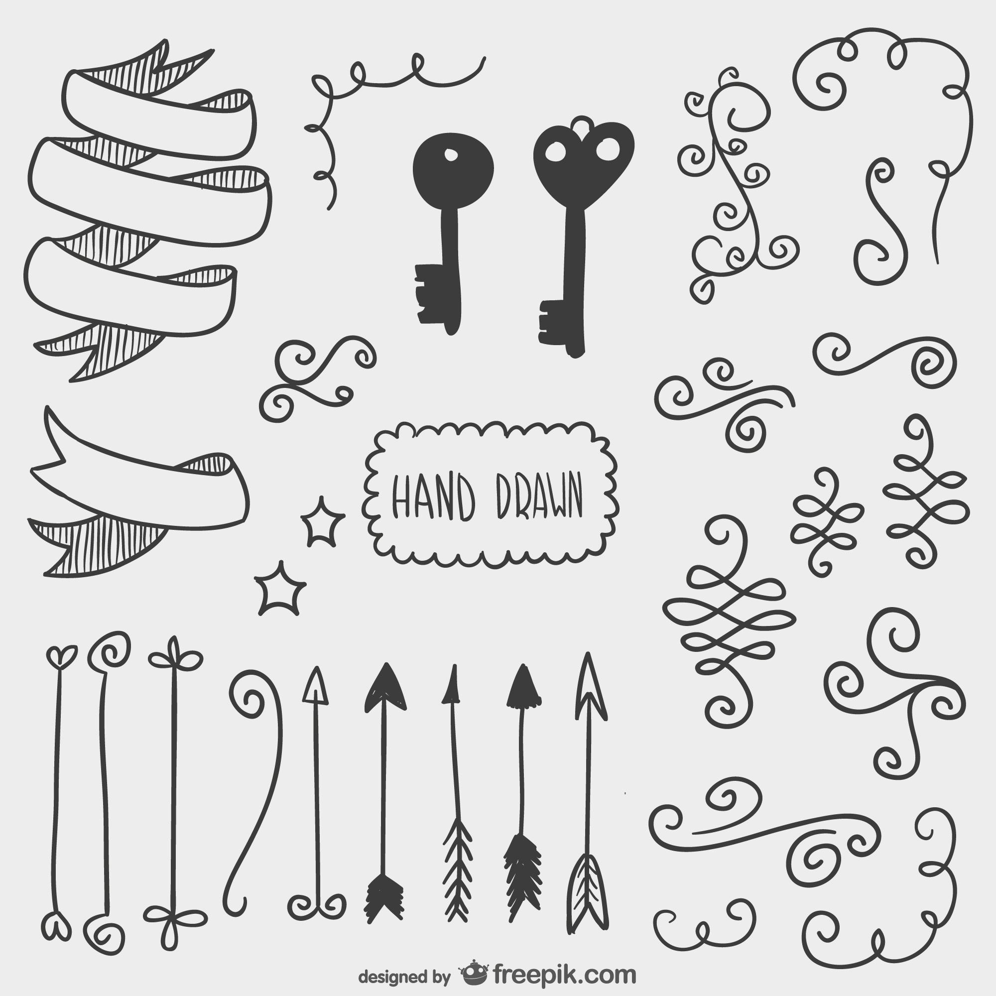 Drawn arrows, keys and other ornaments