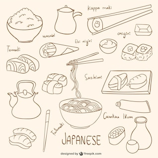 Drawn japanese food collection