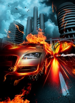 Driving blazing urban hot background