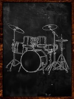 Drum Chalk Sketch on Blackboard