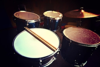 Drums and drumsticks.