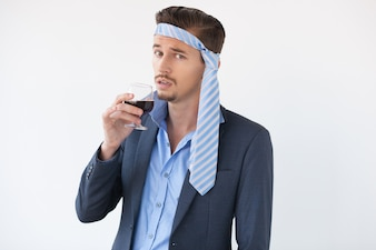 Drunk Man with Glass of Wine and Tie on Head