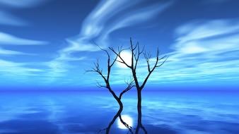 Dry tree on a moonlit night