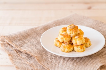 Durian cookies on white plate