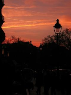 Dusk near the Eiffel Tower