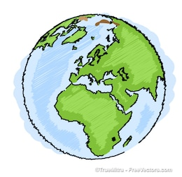 Earth drawing blue green ilustration vector