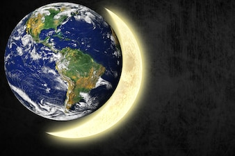 Earth next to the moon