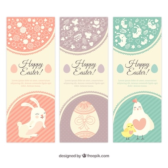 Easter banners in cute style