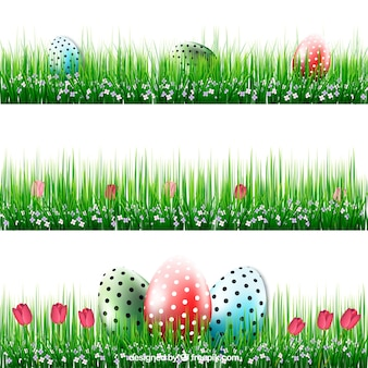 Easter banners with eggs in grass