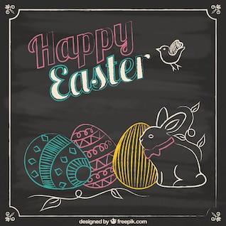 Easter card in blackboard style