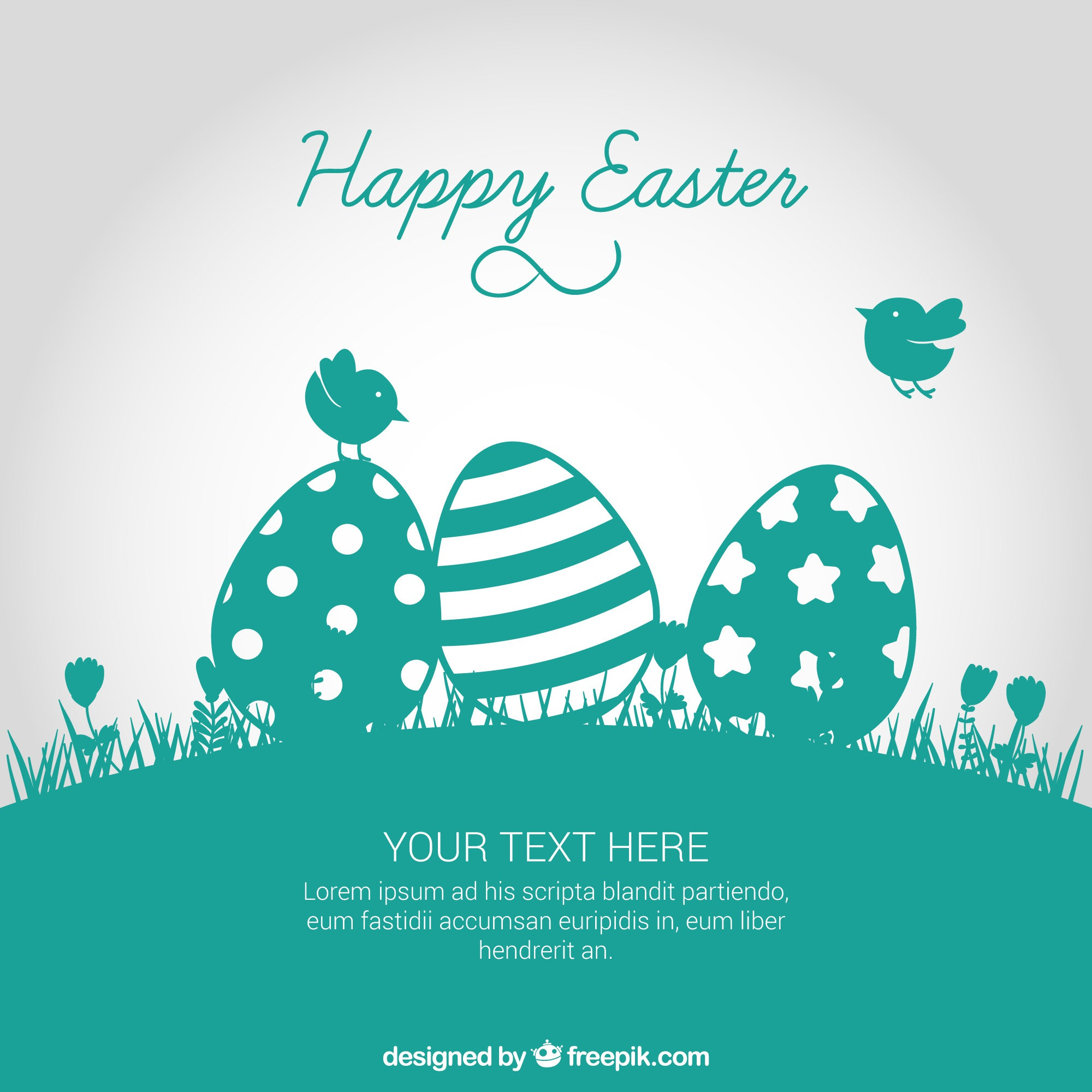 Easter card in turquoise tone