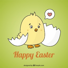 Easter card with a cute chick