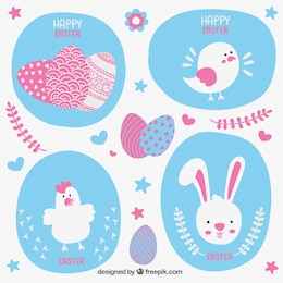 Easter card with cute animals