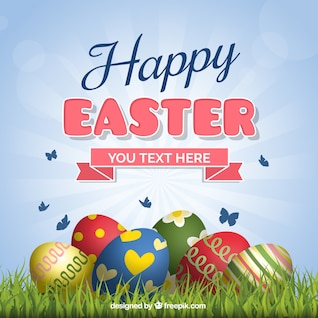 Easter card with eggs on the grass