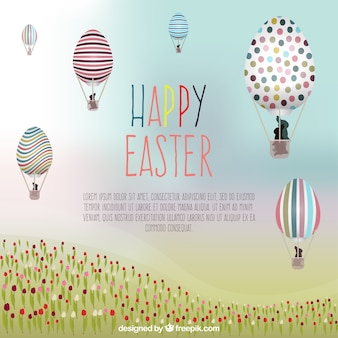 Easter card with hot air ballons