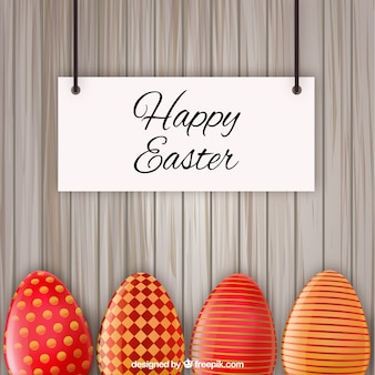 Easter card with red decorated eggs