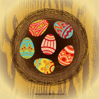 Easter eggs on abstract nest