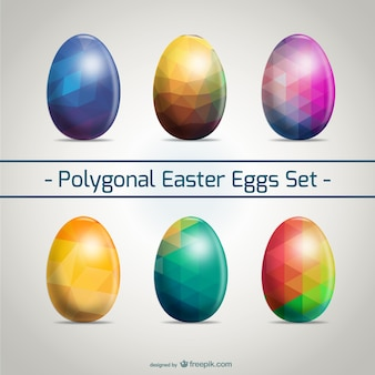 Easter eggs set polygonal design