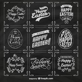Easter labels on blackboard