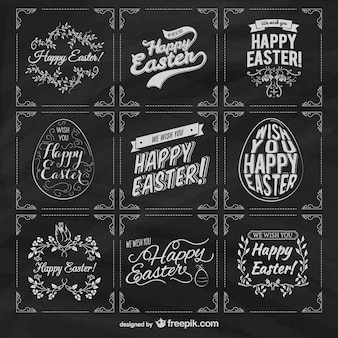 Easter labels on blackboard