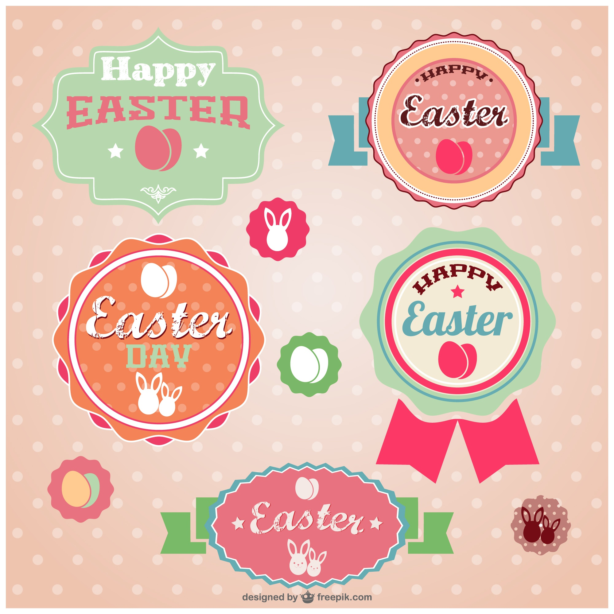 Easter retro stickers set
