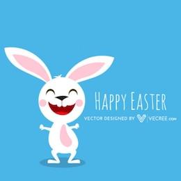 Easter White Bunny Cartoon Congratulation