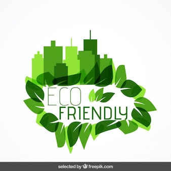 Eco badge with cityscape and leaves