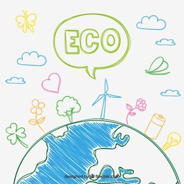Eco concept in sketchy style