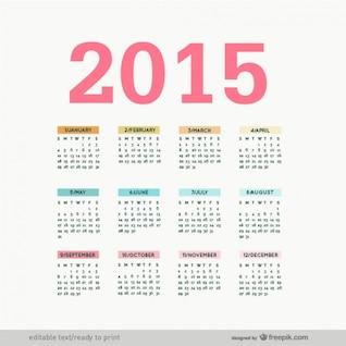 Editable 2015 calendar vector