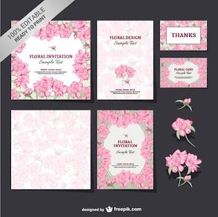 Editable floral mock-up set