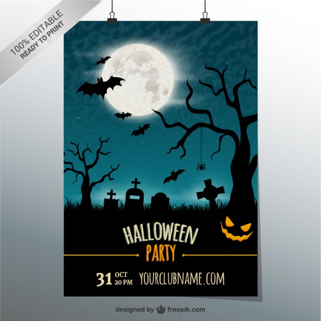 Editable party poster template for Halloween