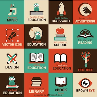Education and science flat symbols